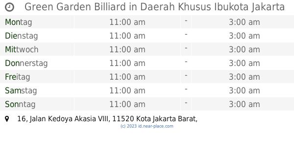 Green Garden Billiard Daerah Khusus Ibukota Jakarta Offnungszeiten 16 Jalan Kedoya Akasia Viii Kontakte