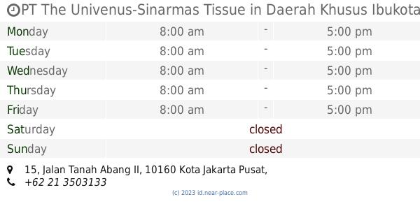 🕗 PT The Univenus-Sinarmas Tissue Daerah Khusus Ibukota Jakarta