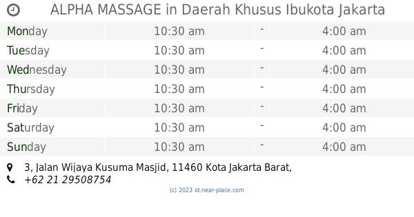 🕗 ALPHA MASSAGE Daerah Khusus Ibukota Jakarta opening times